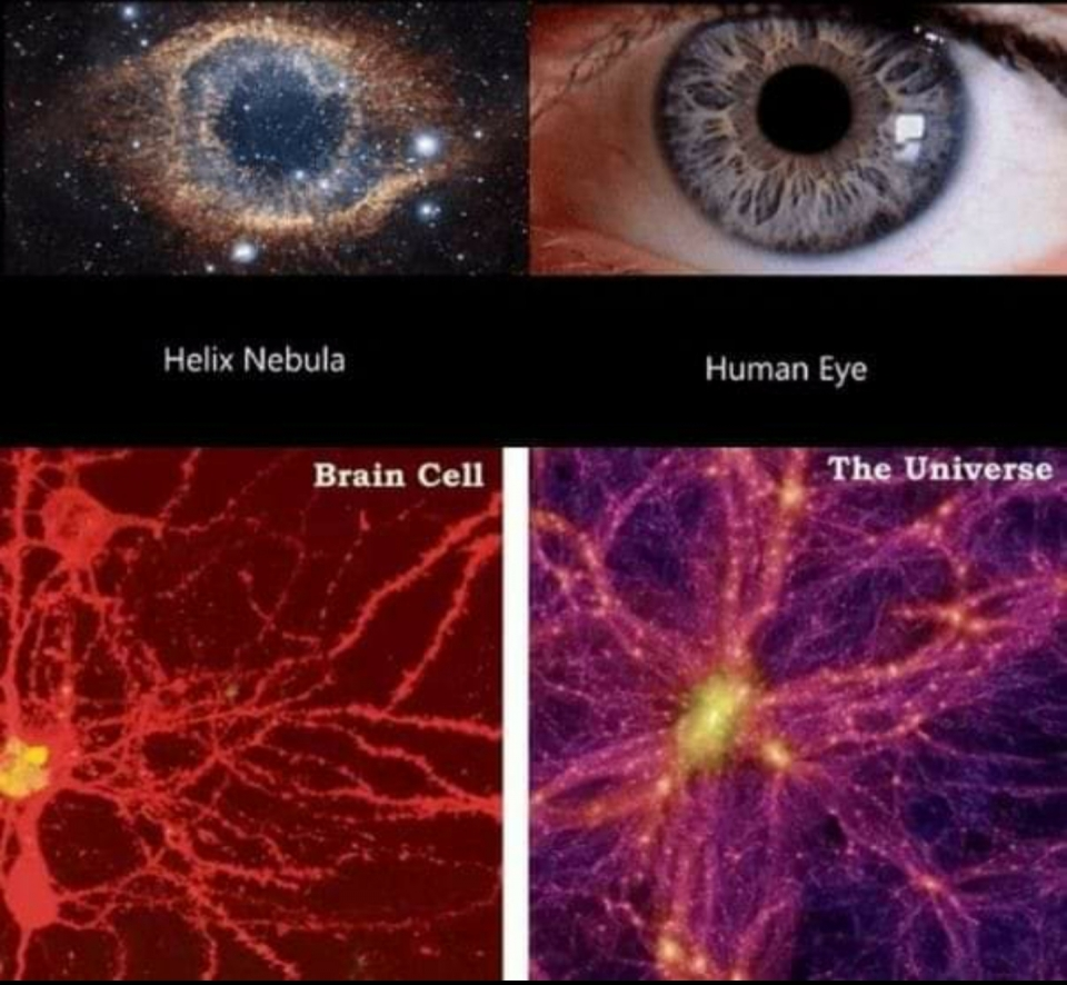 Thinking about we were created in Gods image, and the similarities to the universe. Makes me think we are living in the mind of the Lord. We are his thought.